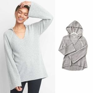 Gap Wool Heather Gray Bell Sleeve Pullover Hoodie